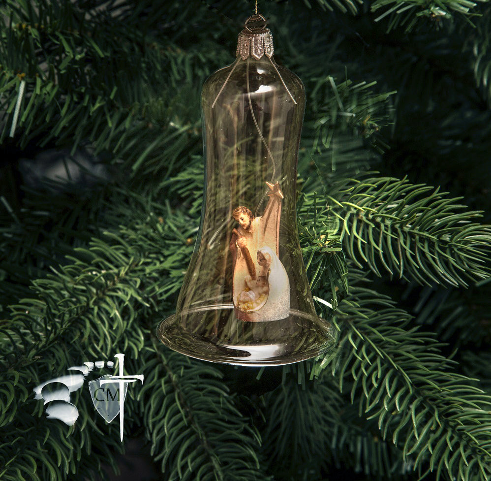 Hand Blown Glass Holy Family Bell