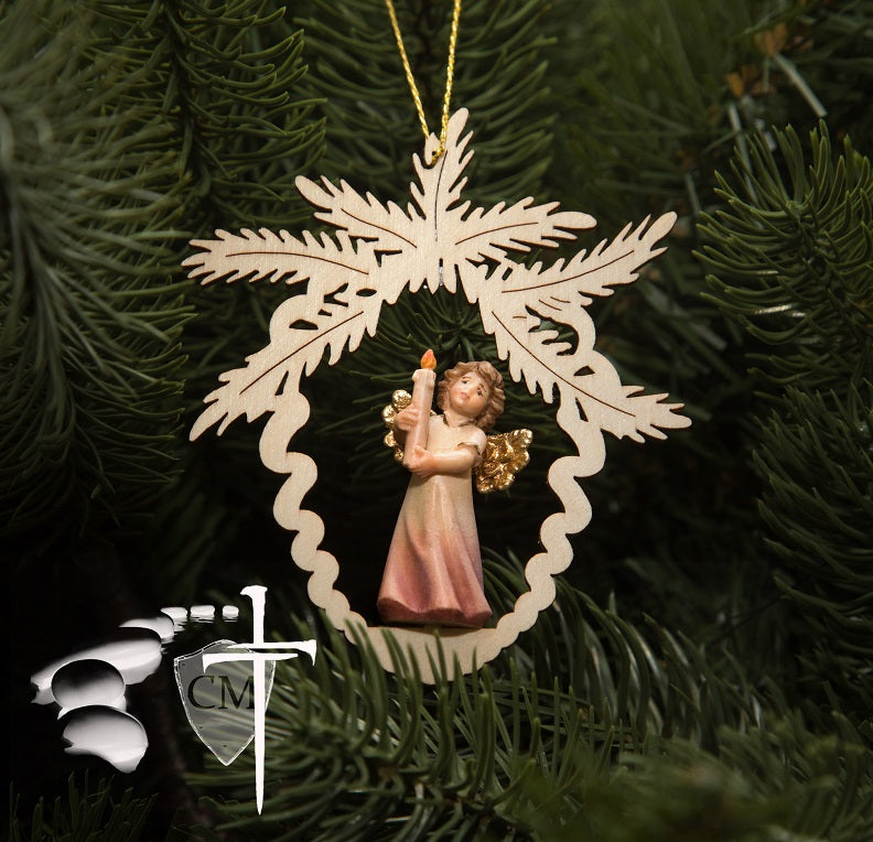 Christmas tree ornament, Catholic Christmas ornament, Angel holding candle, wood carving, coloured finish, pine cone ornmanent, Christmas gift, Italian wooden sculpture, wall art, Mary statue; Mary statues; Madonna with child portrait, natural finish, coloured finish, Catholic Milestones; wood carving; northern alps of Italy; handcarved; Madonna with child; natural finish; catholic gift