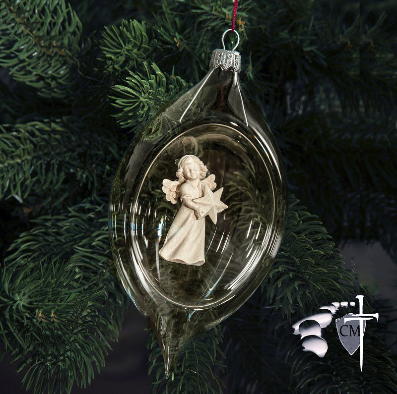 Carved Wood Angel in a Hand Blown Glass Ornament.