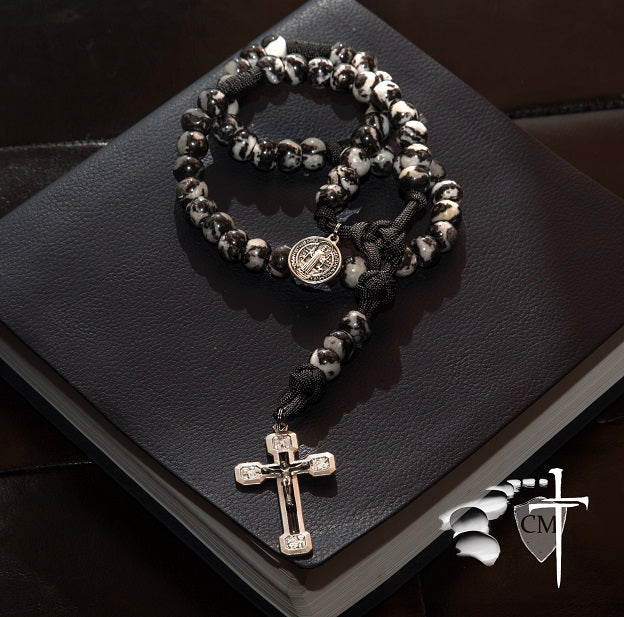 Dragon Slayer stone rosary, Mexican Jasper, St. Benedict medal, Via Crucis in black enamel, made in Italy, black and white rosary, stone rosary, beautiful rosary, one of a kind rosary, Catholic Milestones