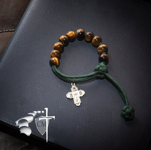rosary, tiger eye, stone rosary bracelet, four way medal, forest green paracord, one hand pull closure, stone rosary bracelet