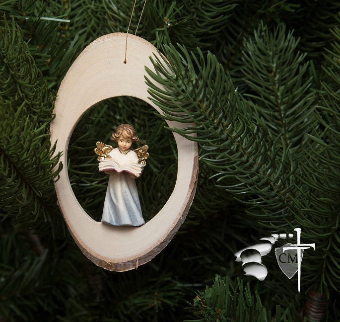 Wood Disc Angel with Bible Ornament