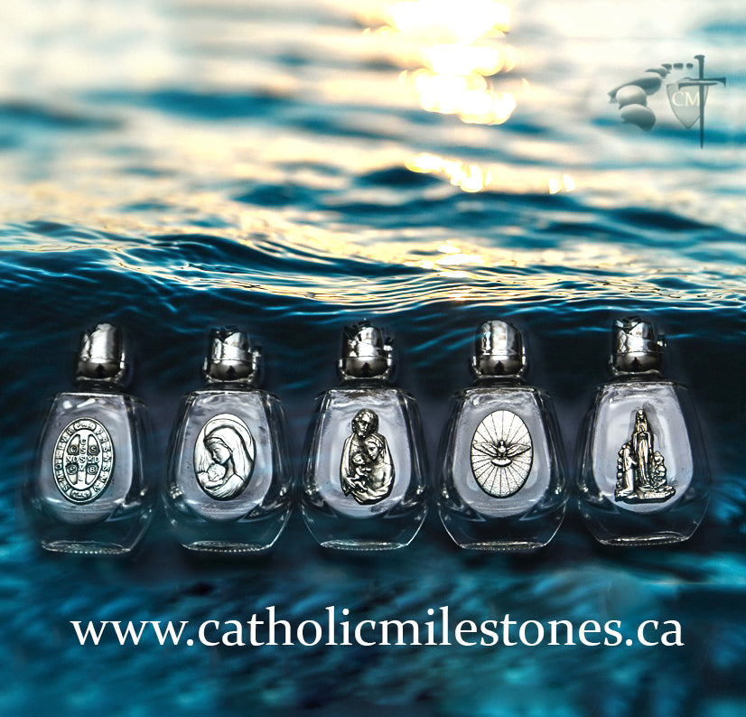 bomboniere baptism holy water bottle Our Lady of Lourdes Saint Bernadette Saint Benedict cross  holy water bottles baptism bomboniera bomboniere sacramental keepsake saints holy family holy spirit silver medals