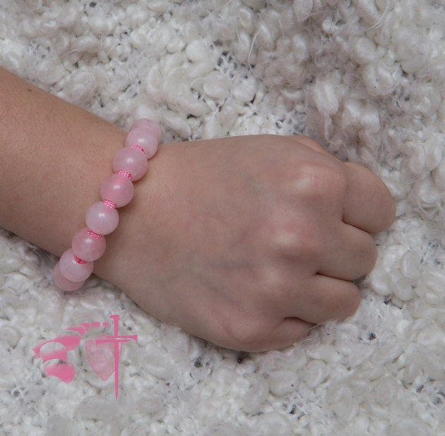 rose quartz rosary bracelet, First Communion Gift, Confirmation gift, rose pink paracord, Four way medal, girl