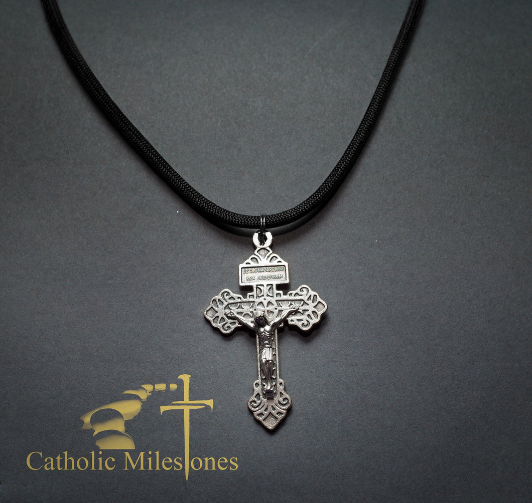 Oxidized Silver Plated Pardon Crucifix on Cord - Catholic Milestones
