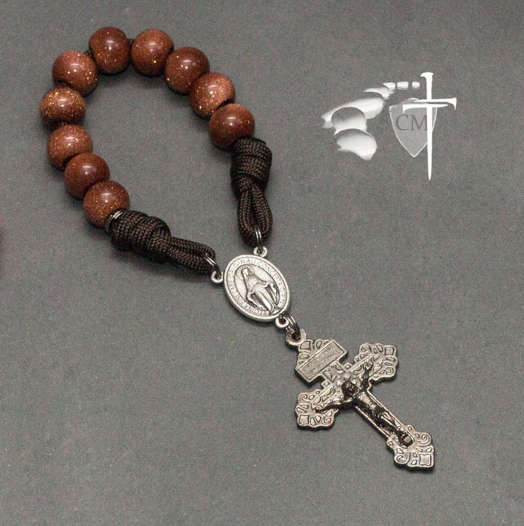 Goldstone pocket rosary, paracord rosary, paracord rosaries, paracord stone rosary, cord rosary, cord rosaries, Goldstone beads, Pardon crucifix, Catholic Milestones, wedding gift, car rosary, auto rosary, men's rosary, groomsmen gift, graduation gift, Holy Orders gift, men's gift, Catholic home decor, Catholic Milestones, Ottawa Ontario, Canada