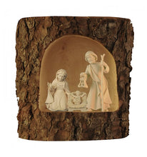Holy Family statue; Nativity statues; woodcarved Holy Family, woodcarved statue, Italian wood sculptures,  natural finish, coloured finish, Catholic Milestones; wood carving; northern alps of Italy; handcarved, natural finish; catholic gifts, Holy Family in tree trunk, Christmas gift, Christmas Nativity, Catholic home decor, catholic housewarming gift