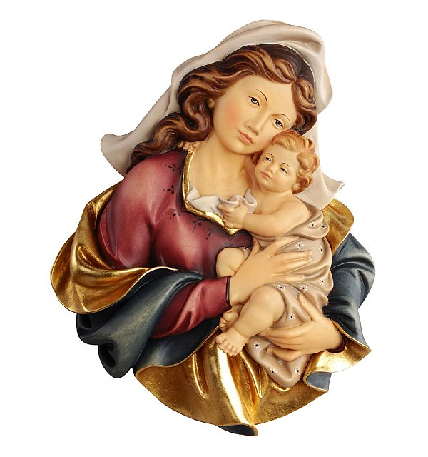 Mary statue; Mary statues; Madonna with child portrait, natural finish, coloured finish, Catholic Milestones; wood carving; northern alps of Italy; handcarved; Madonna with child; natural finish; catholic gift