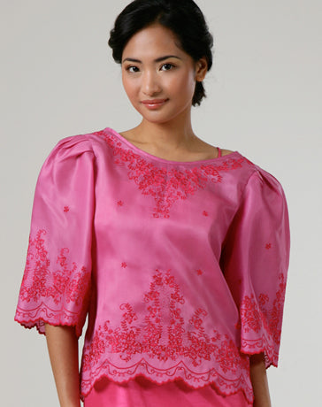 Women's Kimona blouse Rose Jusi fabric 100114 Rose