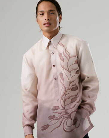 Men's Barong Brown Jusi fabric 100174 Rose