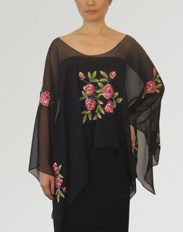 Women's Cape blouse Black Chiffon 100222 Black