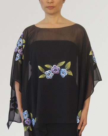 Women's Cape blouse Black Chiffon 100225 Black