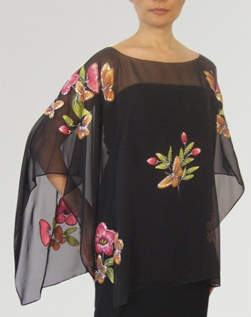 Women's Cape blouse Black Chiffon 100226 Black