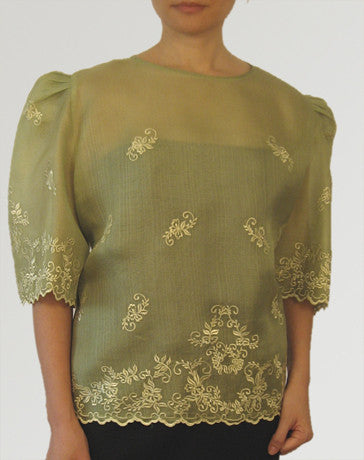 Women's Kimona blouse Aloe Cocoon silk 100230 Aloe