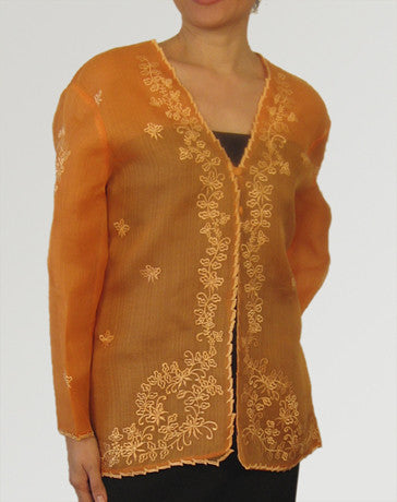 Women's Jacket Orange Cocoon silk 100232 Orange