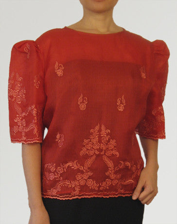 Women's Kimona blouse Red Cocoon silk 100233 Red