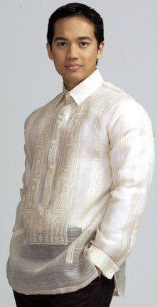 Men's Barong Cream Pina fabric 100395 Pina