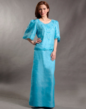 Women's A-Line Skirt Turquoise Blue Textured Silk Organza 100407 Turquoise Blue