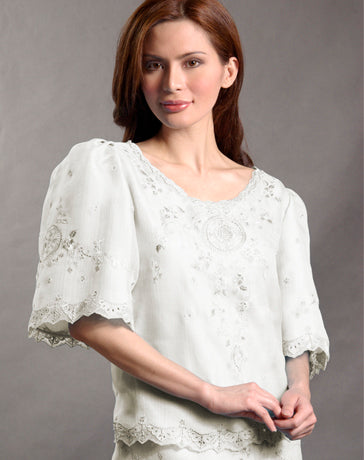 Women's Kimona blouse Cream Textured Silk Organza 100410 Cream