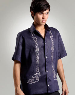 Men's Barong Tagalog 100416 Navy Blue Made-To-Order