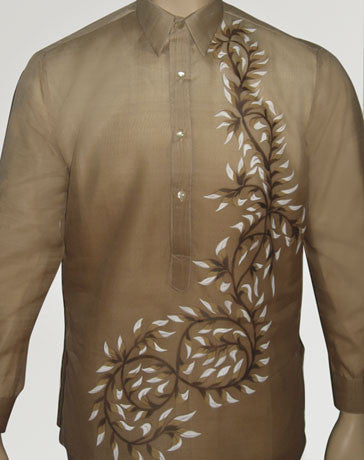 Men's Barong Light brown Jusi fabric 100427 Light Brown