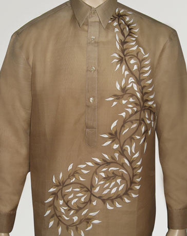 Men's Barong Light brown Jusi fabric 100428 Light Brown