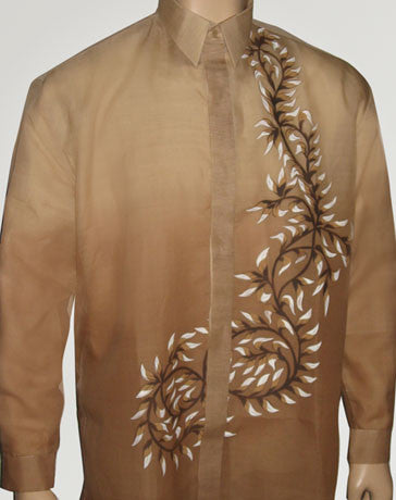 Men's Barong Light brown Jusi fabric 100431 Light Brown