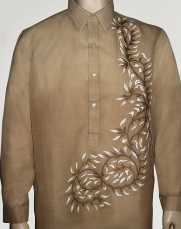 Men's Barong Light brown Jusi fabric 100432 Light Brown