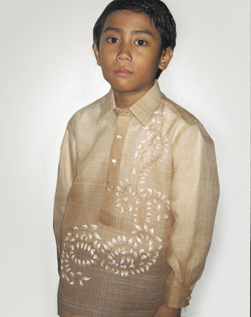 Boys' Barong Light brown Jusi fabric 100433 Light Brown