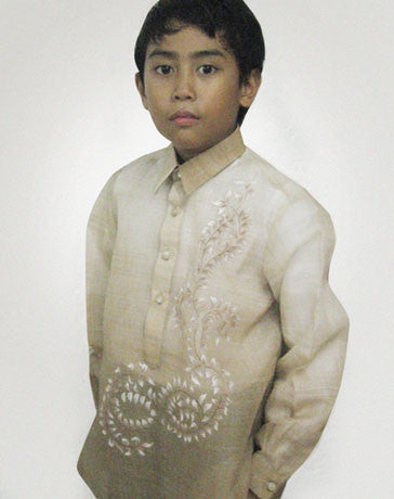 Boys' Barong Light brown Jusi fabric 100434 Light Brown