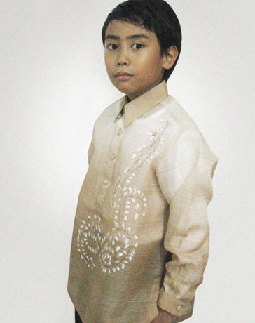Boys' Barong Light brown Jusi fabric 100435 Light Brown