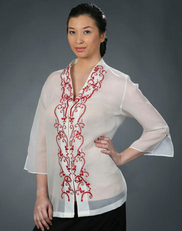 Women's Barong Cream Jusi fabric 100454 Cream