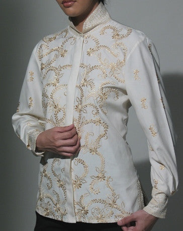 Women's Tunic Barong Cream Silk 100726 Cream