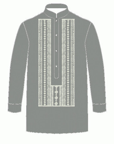 Boys' Barong Gray Jusi fabric 100506 Gray