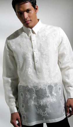 Men's Barong Cream Jusi fabric 100523 Cream
