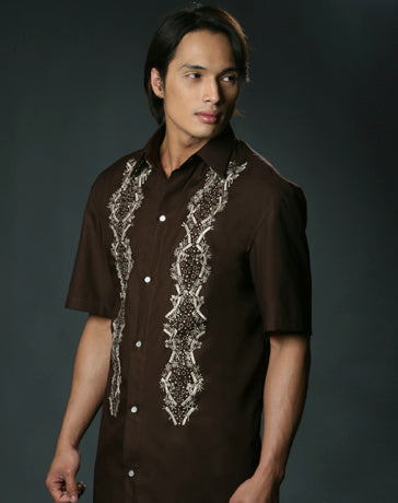 Men's Barong Tagalog 100525 Brown Made-To-Order