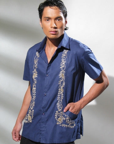 Men's Barong Navy Blue Cotton 100527 Navy Blue