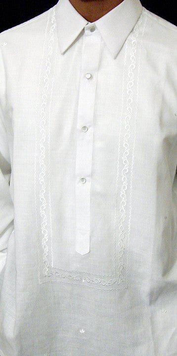 Men's Barong White Ramie Linen blend 100530 White