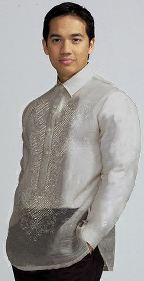 Men's Barong Cream Pina fabric 100772 Pina