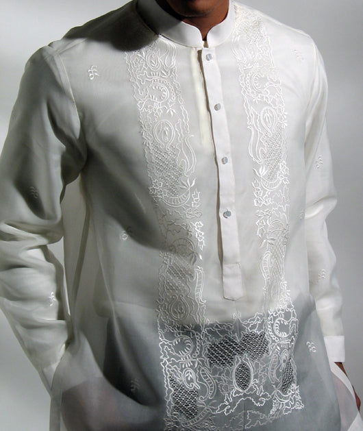 Men's Barong Cream Jusi fabric 100807 Cream