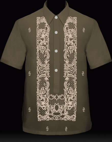 Men's Barong Dark Chocolate Ramie Linen blend 100851 Dark Chocolate