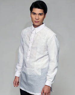 Men's Barong White Textured Organza 100870 White