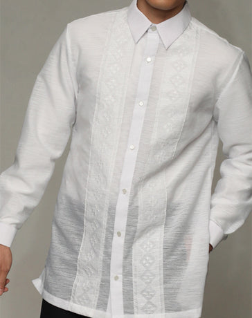 Men's Barong White Textured Organza 100871 White