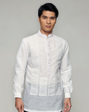 Men's Barong White Textured Organza 100872 White