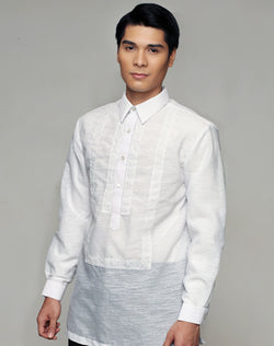 Men's Barong White Textured Organza 100874 White