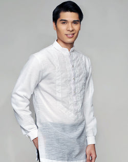 Men's Barong White Textured Organza 100875 White