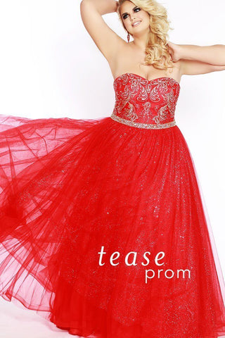 TE1801 in red has a sweetheart, strapless neckline with gold embroidered bodice with sequins. The gown is fully lined, and finished off with a horsehair hemline