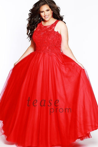 TE1823 in red is a sleeveless, floor-length silhouette gown with a scoop neckline. The bodice is beaded with lace and illusion net. Natural waistline has a center-back zipper