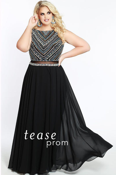 TE1802 is a mock-two-piece prom dress with a heavily beaded bodice and long chiffon black skirt