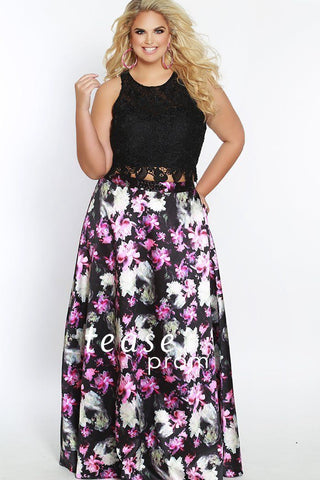 TE1838 is a two piece dress with a black lace top and floor length floral skirt